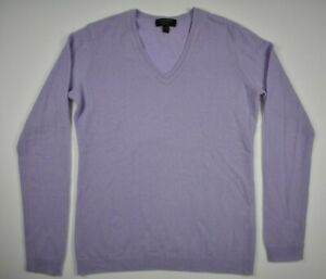 Charter-Club-Womens-XS-Luxury-100-Cashmere-Purple-Long-Sleeve-V-Neck-Sweater