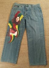 LRG LR Genes Size 38 Inseam 29 Bob Marley Button Fly Jeans RARE