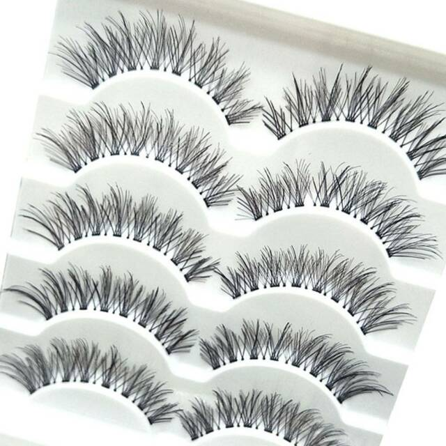 0ade78a2149 5 Pairs Natural Long Cross False Eyelashes Makeup Fake Thick Black Eye  Lashes