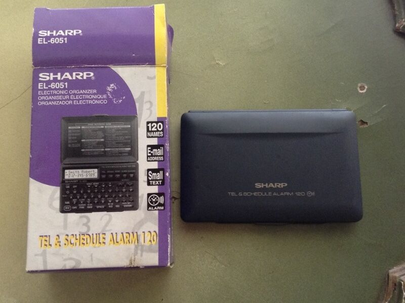 VINTAGE SHARP EL6051 ELECTRONIC ORGANIZER WITH  MANUAL &'ORIGINAL BOX