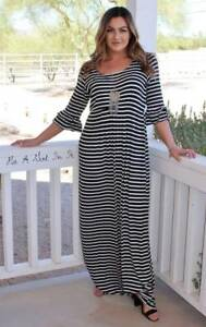 PLUS SIZE BLACK WHITE STRIPED RUFFLED TALL MAXI DRESS SIDE POCKETS ...