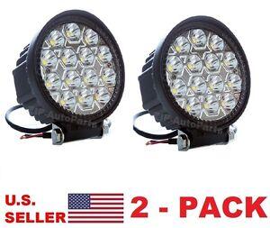 42W-4-5-034-ROUND-SPOT-BEAM-LED-WORK-LIGHT-CAR-BOAT-VEHICLE-12V-24V-CAN-AM-RZR-2PK