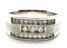 14K White Gold Brushed Sterling Silver 925 CZ Rows Classic Men's Band Ring 10.25