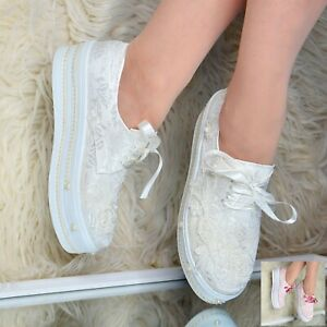 Details zu Ladies Bridal Flat Platform Shoes Wedding LACE PEARLS Satin Trainers Embellished