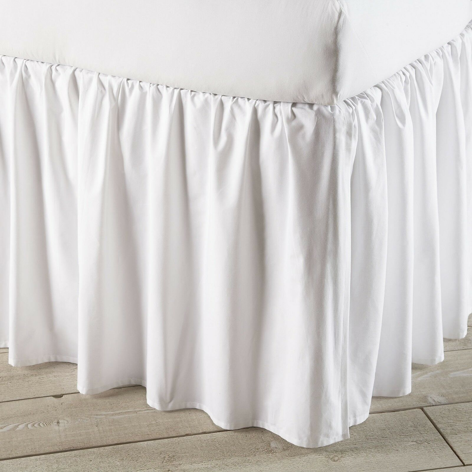 Split Corner Ruffle Bed Skirt 640-TC Solid White Cotton All Drop Bed Size New