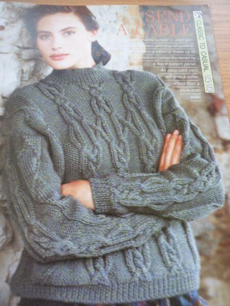 Vintage Aran Knitting Pattern Ladies Beautiful Sweater 40 48 In