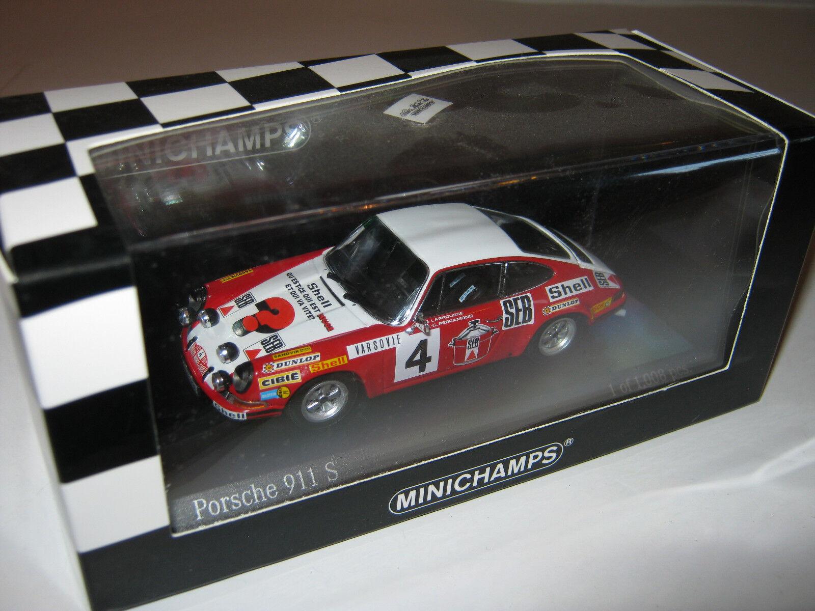 1 43 PORSCHE 911 S Rallye Monto Carlo 1972 Larrouse le MINICHAMPS 400726804 New