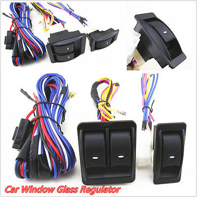 Car Power Door Window Gl Lift Switch Harness Wire Kit With Green Illumination on