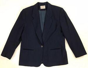Womens-Pendleton-Petite-Blue-Blazer-Jacket-16-Wool-Vintage