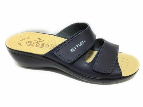 Fly Flot F2284 BE Blu Ciabatte Donna Made in Italy Zeppa 3 CM Anatomica