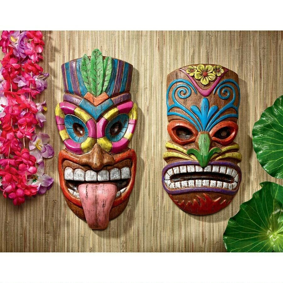 Set of 2  Polynesian Pop Culture Vibrant Hawaiian Tiki Face Wall Mask Sculpture
