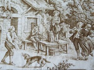 Antique-Country-French-Cotton-Scenic-Toile-Sample-Fabric-c1870-1880-19-034-LX32-034-W