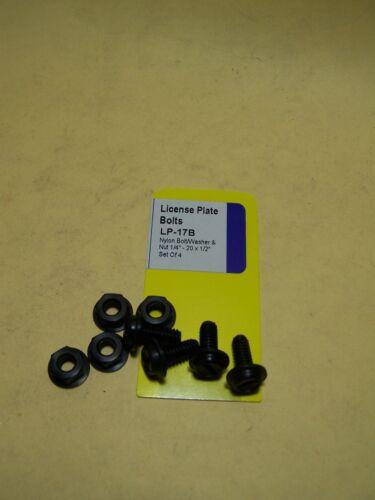 "LICENSE PLATE FASTENERS black nylon bolts 1//4/""-20 x 1//2/"""
