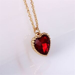 9k Real White Gold Filled Red Diamond Heart Shape Necklace ...