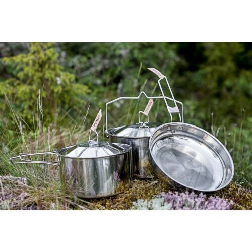 Primus Camp Fire Stainless Steel 3 Piece Cook Set 2 x Saucepan 1 x Frying Pan