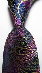 New-Classic-Paisley-Blue-Red-Gold-JACQUARD-WOVEN-100-Silk-Men-039-s-Tie-Necktie