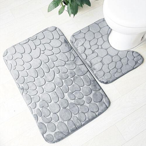 Non Slip Water Absorbent Bathroom Mat//Bath Rug 2 Pieces 3D Pebbles Pedestal Set