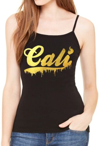 Women/'s Gold Foil Dripping Cali Black Spaghetti Strap Tank Top Lit Fire Swag Tee