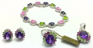 GENUINE-Peridots-Amethyst-amp-Pink-Sapphires-RING-BRACELET-amp-EARRINGS-SET-14K