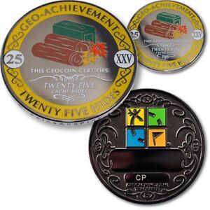 Geo Achievement Geocaching Achievement Geocoin And Pin Set 25 Hides Ebay