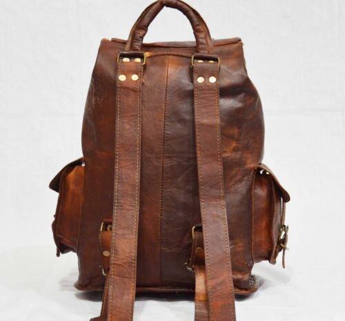 Real Brown Genuine Men/'s Leather Backpack Bag Satchel Briefcase Laptop Vintage