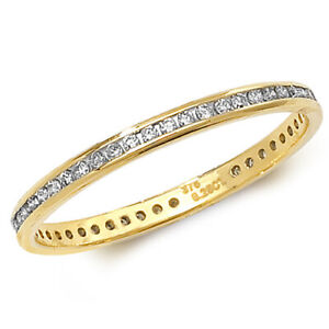 0-25-Ct-Round-Brilliant-Cut-REAL-Diamond-FULL-Eternity-Wedding-Ring-9CT-Gold-NEW
