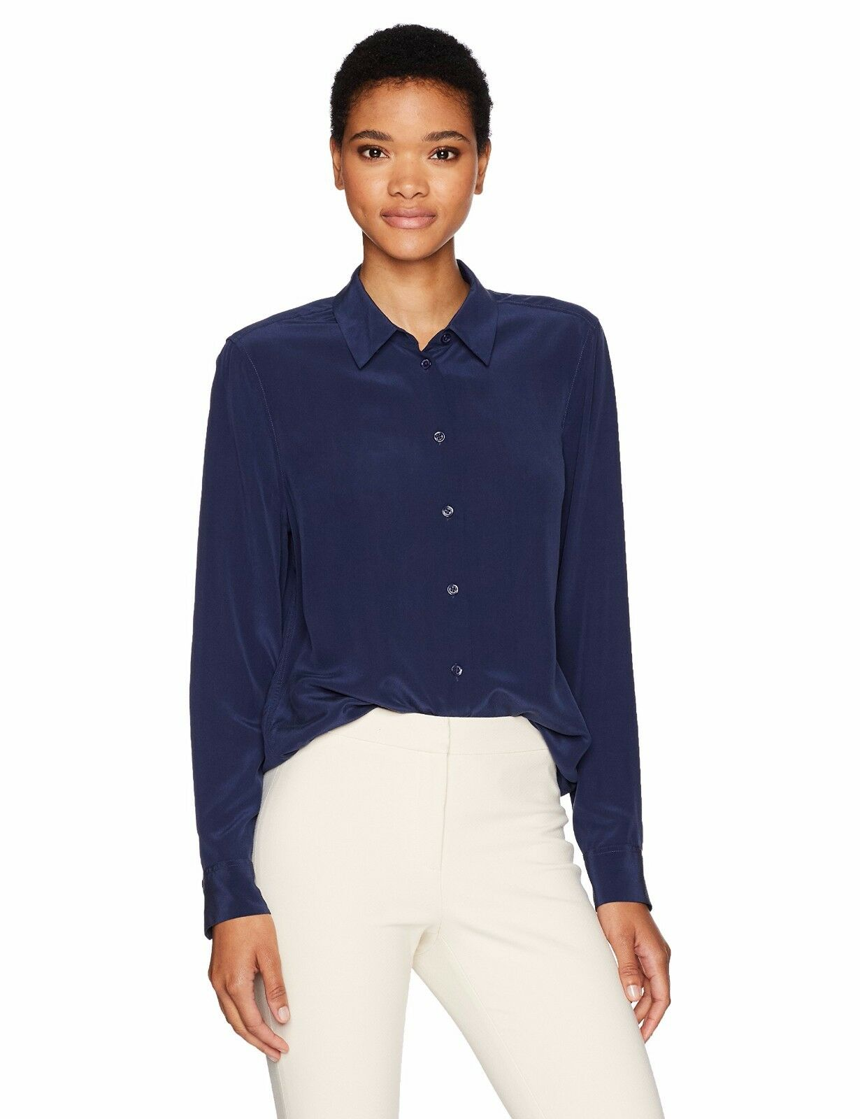 NEW Equipment Essential damen silk Shirt Blouse Atlantic Deep Blau Navy XS S M