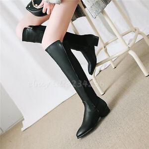 Klassical-Damenstiefel-Schwarz-Kniehohe-Wadenhohe-Stiefel-Boots-Plusgrosse-34-48