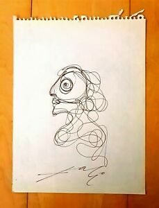 """SALVADOR DALI -FIGURE- AUTHENTIC 9"""" x 7"""" INK ON PAPER DRAWING"""