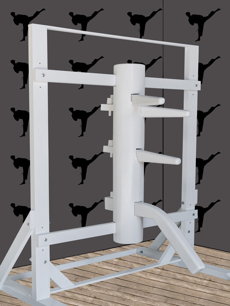 Wing Chun Wooden Dummy With Frame And Legs White color