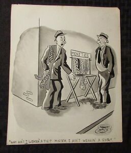 Vintage Charles Chas Sage 8x10 One Panel Gag Original Art B&W w/ Wash NO TIE