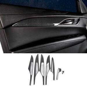 Carbon Fiber ABS Interior Door Handle Cover Trim*4 For Cadillac ATS-L 2014-2017