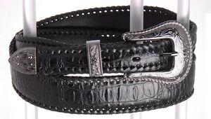 Western Southwest Black Mens Croco Leather Belt