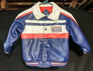 RARE VINTAGE CLEVELAND INDIANS CHIEF WAHOO KIDS MLB JACKET sz 5 MINT!