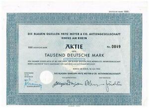 Die Blauen Quellen ...AG, Rhens am Rhein 1952, 1000 DM, VF