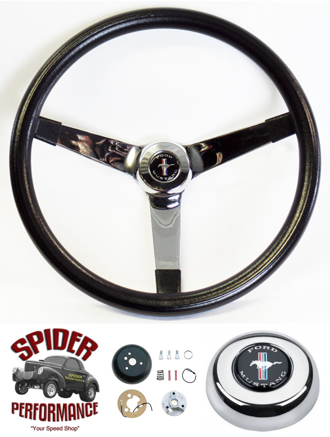 "1970-1973 Mustang steering wheel PONY 13 3//4/"" BLACK SPOKE"