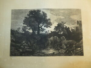 BREME Duca di SARTIRANA (1807-1869) GRAVURE PAYSAGE VACHE CREPUSCULE ITALIA 1869