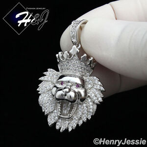 925-STERLING-SILVER-LAB-DIAMOND-ICED-SMALL-LION-KING-HEAD-CROWN-PENDANT-SSP122