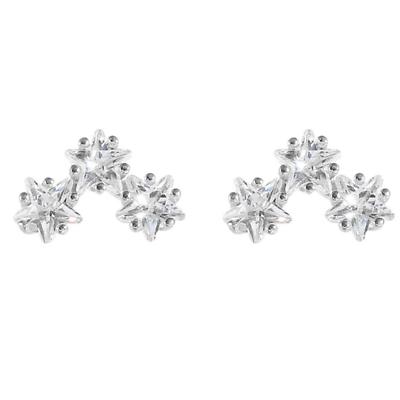 Sterling Silver Glittering Sandblast Triple Linked Stars Line Stud Earrings