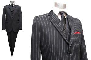 Details zu Nadelstreifen Herren Anzug 3 teilig Gr.64 Schwarz