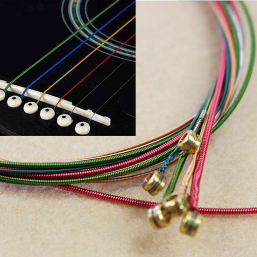 Colorful 1-6 E B G D A A A E Rainbow Colorful Strings Set for Acoustic Guitar MKWU fbc256