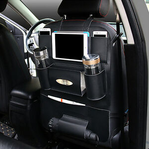 Truck Seat Organizer >> Black Pu Leather Car Truck Seat Back Protector Cover Storage Holder