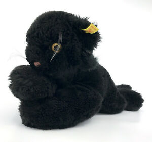 Steiff-Cosy-Black-Panther-Plush-Floppy-Big-Cat-28cm-11in-ID-Button-Tag-1980s-Vtg