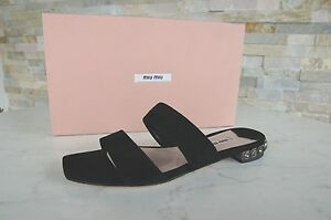 Miu-Miu-Taille-35-5-Mules-Sandalettes-Chaussure-Noire-Neuf