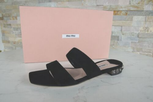 Miu Miu Size 36 Mules Sandals Sneakers Shoes Black New Previously