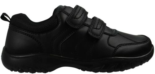 Boys Black School Shoes PU Leather Hook /& Loop Dress Formal Easy On UK Size 10-5