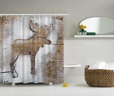 Item 2 Woodland Moose Shower Curtain Rustic Wooden Panels Log Cabin Snow Bath Decor