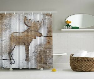 Image Is Loading Woodland Moose Shower Curtain Rustic Wooden Panels Log