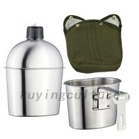 Stainless Steel Military Canteen 1qt Portable With 0.5qt Cup Green Cover Outdoor