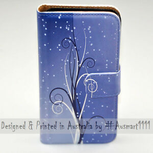 For Huawei Series - Blue Swirl Theme Print Wallet Mobile Phone Case Cover